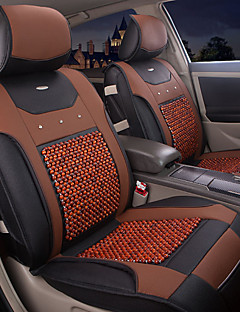 Summer Leather Wood Beads 6 PCS Set All Seasons General Universal Fit Car Seat Covers Protection Seat