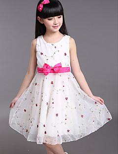 Menina de Vestido Floral Algodão / Chiffon Verão Branco
