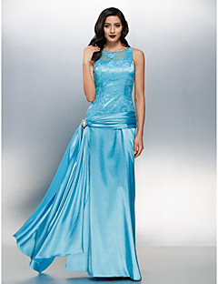 Sheath/Column Jewel Floor-length Lace And Stretch Satin Evening Dress (984175)