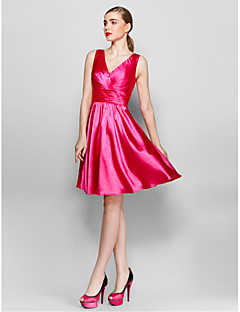Cocktail Party Dress - Fuchsia A-line V-neck Knee-length Charmeuse
