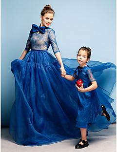 Formal Evening Dress - Ocean Blue Plus Sizes / Petite A-line High Neck Court Train Lace / Organza
