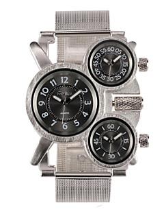 Oulm 男性 軍用腕時計 リストウォッチ 3タイムゾーン クォーツ 日本産クォーツ ステンレス バンド シルバー