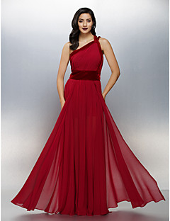 TS Couture Formal Evening Dress - Furcal A-line One Shoulder Floor-length Chiffon Velvet with Side Draping