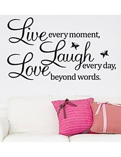 leve hvert øjeblik grine og kærlighed citerer væg mærkat zooyoo8023 dekorative flytbare vinyl væg sticker