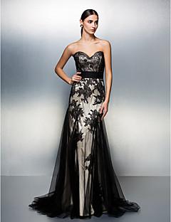 regresso a casa vestido de noite formal - varredura querida um preto-line / tule trem pincel