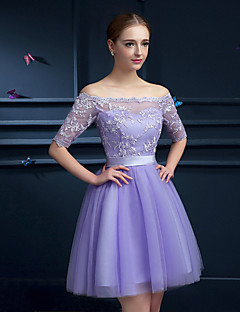 Knee-length Tulle Bridesmaid Dress - Lavender Petite A-line Off-the-shoulder