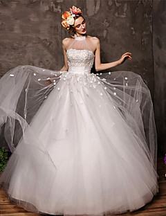 Ball Gown Floor-length Wedding Dress -Halter Tulle