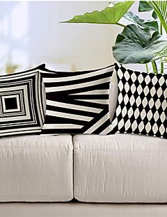 ensemble de motifs géométriques en coton / lin 3 de style moderne taies d'oreiller décoratif
