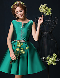 Cocktail Party Dress - Dark Green Ball Gown V-neck Short/Mini Charmeuse