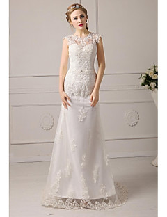 Formal Evening Dresses A-line Jewel Floor-length Lace/Tulle Prom Dress