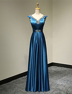Formal Evening Dress - Ink Blue Plus Sizes / Petite A-line V-neck Floor-length Satin
