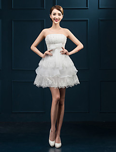Cocktail Party Dress Ball Gown Strapless Short / Mini Lace with Bow(s)