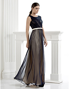 Formal Evening Dress - Dark Navy Plus Sizes / Petite Sheath/Column Scoop Floor-length Chiffon / Lace