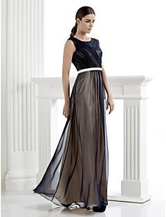 저녁 정장파티 드레스 - 다크 네이비 시스/컬럼 바닥 길이 스쿱 쉬폰/레이스