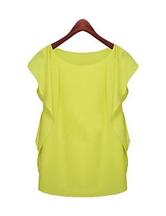 Женский На каждый день Лето Блуза Круглый вырез,Простое Однотонный Розовый / Зеленый Без рукавовТонкая