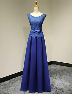 Fiesta formal Vestido - Azul Real Corte A Hasta el Suelo - Escote A la Base Satén
