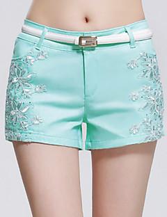 Mulheres Calças Casual Shorts Misto de Algodão Com Stretch Mulheres