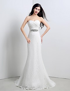 Trumpet / Mermaid Wedding Dress Lacy Looks Sweep / Brush Train Sweetheart Lace with Criss-Cross / Sash / Ribbon