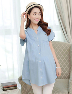 Women's Vintage/Casual/Work Micro-elastic Short Sleeve Long Maternity Shirt (Cotton)