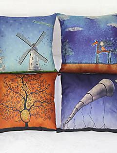 conjunto de 4 estilo literário decor sofá fronha de almofada casa (17 * 17 polegadas)