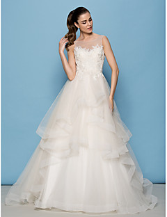 Lanting Bride Lanting A-line/Princess Wedding Dress - Ivory Sweep/Brush Train Scoop Tulle