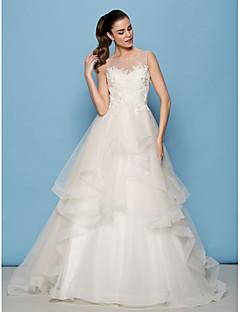A 라인을 lanting / 공주 웨딩 드레스 - 아이보리 청소 / 브러쉬 기차 특종 얇은 명주 그물