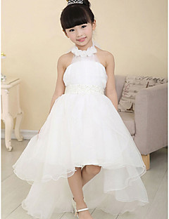 A-line Asymmetrical Flower Girl Dress - Cotton/Organza Sleeveless