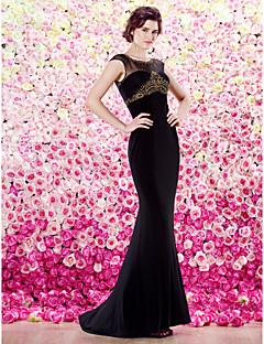 ts couture formell aftonklänning - svart mantel / kolumn scoop golv längd tyll