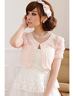 Wedding Wraps Short Sleeve Lace/Polyester Sweet Boleros Black/White/Pink Bolero Shrug