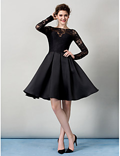 A-Line Bateau Neck Knee Length Lace Cocktail Party Homecoming Prom Company Party Dress with Lace by TS Couture®