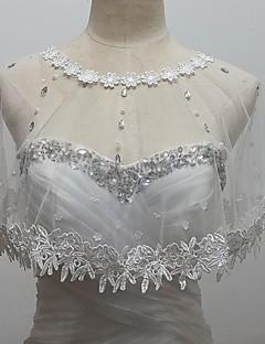 결혼식 볼레로 민소매 얇은 명주 그물 / 반짝이 흰색 볼레로 어깨를 으쓱 랩