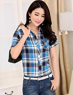 Mulheres Camisa Colarinho de Camisa Manga Curta Bolso Algodão Mulheres