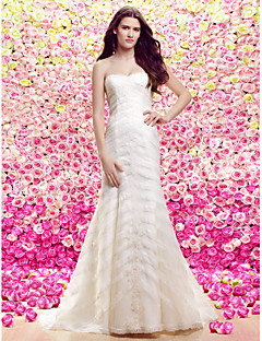 Lanting Trumpet/Mermaid Wedding Dress - Ivory Court Train Strapless Lace / Tulle