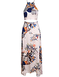 Women's Vintage Sexy Beach Print Cute Plus Sizes Micro Elastic Sleeveless Maxi Dress (Microfiber)