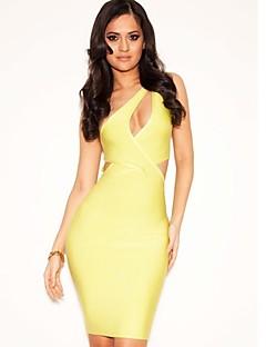 שמלה מסיבת קוקטייל - נדן / טור - כתף אחת - קצר / מיני - ספנדקס/ריון (משי מלאכותי)/ניילון טאפטה
