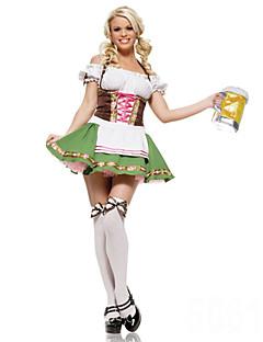 Cosplay Kostumer / Festkostume Tjenestepige Kostumer / Oktoberfest Festival/Højtider Halloween Kostumer Hvid Patchwork KjoleHalloween /