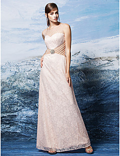 Formal Evening Dress - Pearl Pink Plus Sizes / Petite Sheath/Column Scoop Floor-length Lace