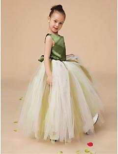 Ball Gown Floor-length Flower Girl Dress - Satin / Tulle Sleeveless Straps with