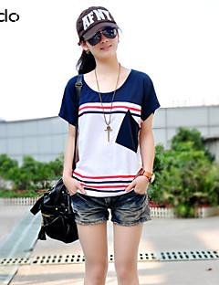 דפוס / טלאים צווארון עגול פשוטה / סגנון רחוב יום יומי\קז'ואל טישרט נשים,קיץ שרוולים קצרים כחול / אדום / שחור / אפור / כתום דק כותנה