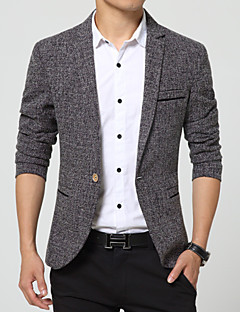 Men's Plaids Casual / Work / Formal Blazer,Nylon Long Sleeve Blue / Gray