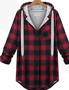 Women's Plaid Red/Gray Hoodies , Casual/Plus Sizes Hooded Long Sleeve Pocket