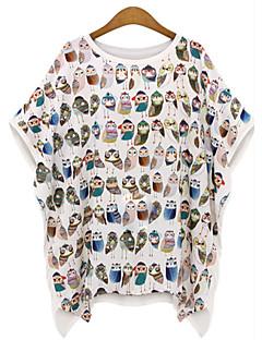 De las mujeres Simple Casual/Diario / Tallas Grandes Verano Camiseta,Escote Redondo Estampado 1/2 Manga Algodón Blanco / Negro Fino