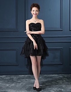 Cocktail Party Dress Princess Strapless Asymmetrical Organza Dress