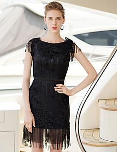 retour cocktail robe de soirée gaine / colonne bateau court / mini robe de satin