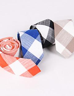グリッド - ネクタイ ( ブラック/グレー/ブルー/オレンジ , リネン/金属クリップを有する樹脂 )