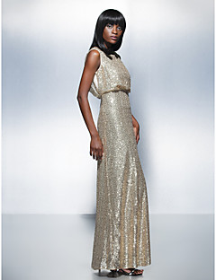 Formal Evening Dress - Champagne Plus Sizes / Petite Sheath/Column Scoop Floor-length Sequined