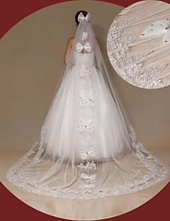 Véus de Noiva Uma Camada Véu Catedral Borda com aplicação de Renda Tule Renda Marfim
