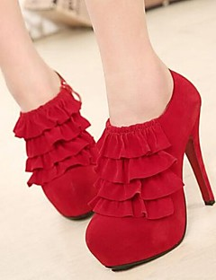 Exquisite Pure Color Falbala Women's Wedding Stiletto Heel Platform Pumps/Heels Shoes