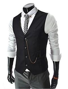 Men's Casual Pure Sleeveless Regular Blazer (Cotton Blend)