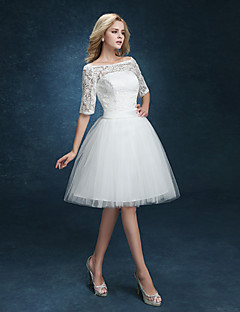A-line Wedding Dress - Reception Little White Dresses Knee-length Bateau Lace / Tulle with Appliques